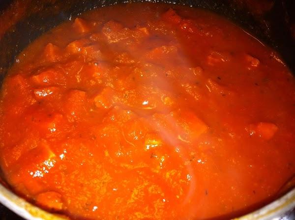 For Sauce: combine spaghetti sauce, tomato paste, broth, vinegar and seasonings in a medium...