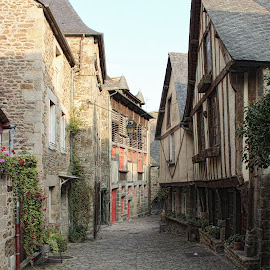 Half Timbered Houses, Dinan, Brittany, France by Carol Lauderdale - Buildings & Architecture Homes ( dinan, cobbled streets, houses, half timbered houses, france, brittany, rue da petit fort )