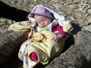 Photo: Baby Abigail in a feeding trough at Megiddo. It is believed that these are the very troughs used to feed the king's horses at the time of Solomon.