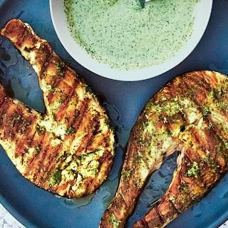 Grilled Salmon Steaks with Cilantro-Garlic Yogurt Sauce Recipe