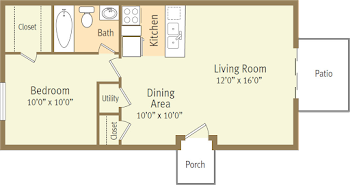 Go to One Bed, One Bath Garden Small Floorplan page.