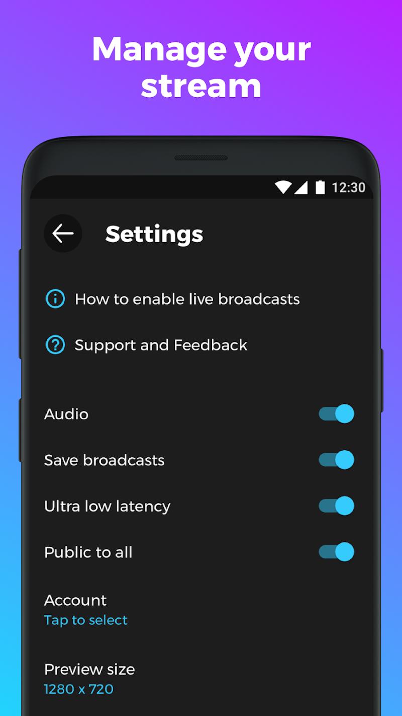Скриншот YouStream: Broadcast Videos to YouTube