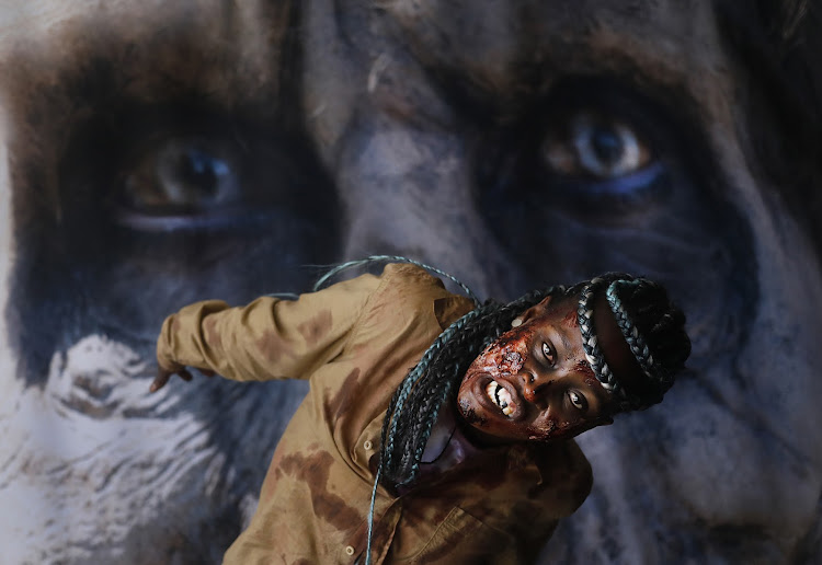 A zombie thrills visitors to the sold-out Comic Con Africa convention at the Kyalami International Convention Centre.
