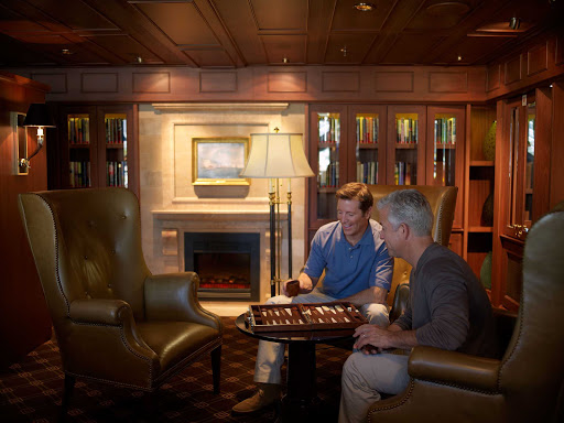 Oceania-Library.jpg - The Library aboard Oceania Cruises is the perfect spot to meet for a quiet game of backgammon.
