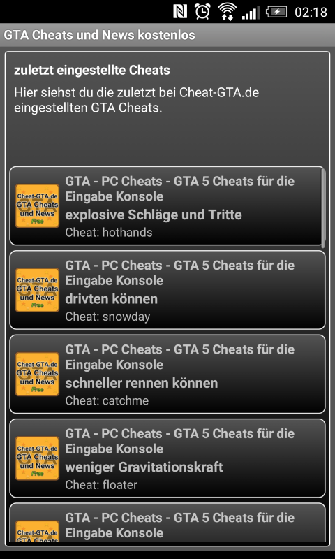 Cheat-GTA.de App- screenshot