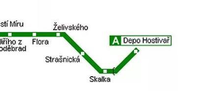 зеленая ветка метро в Праге