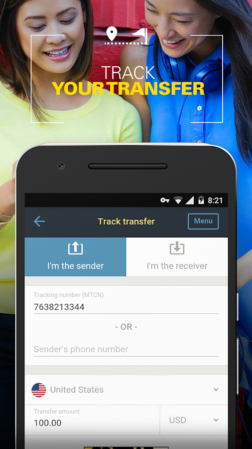Money Transfer WesternUnion CA- screenshot