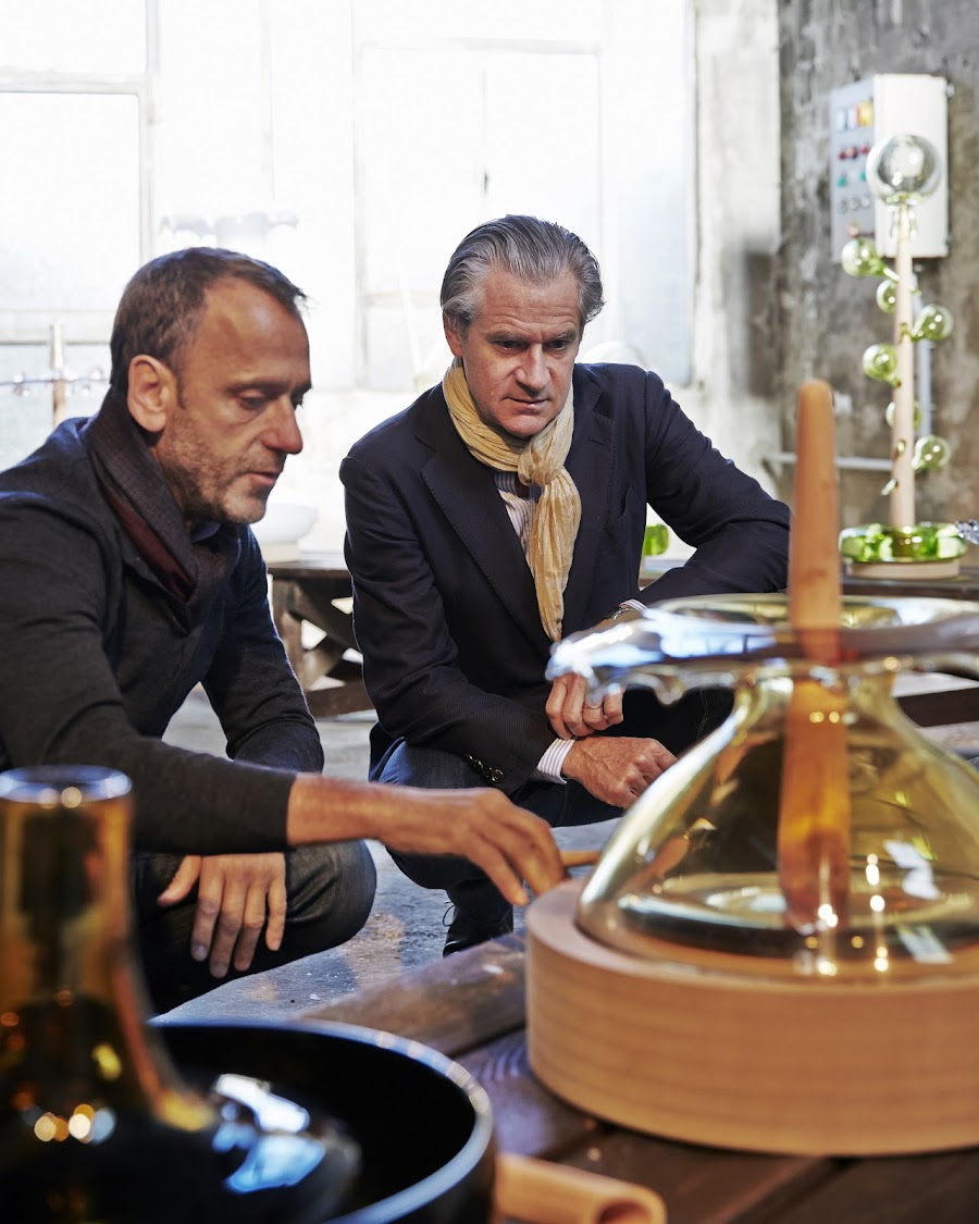 Glass artist Hubert Le Gall with Frédéric Dufour