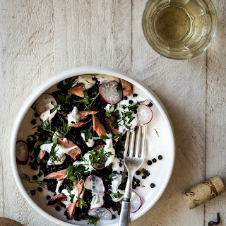 Smoked Salmon Lentil Bowl with Yogurt-Dill Sauce.
