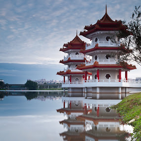 Twin Pagodas at the Edge of the Lake by Chester Chen - Buildings & Architecture Other Exteriors ( pagoda, garden, singapore, chinese )