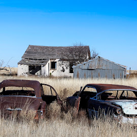 Old cars with house by Scott Thomas - Buildings & Architecture Decaying & Abandoned ( #landscape, #nature, #abandon, #cars, #house )