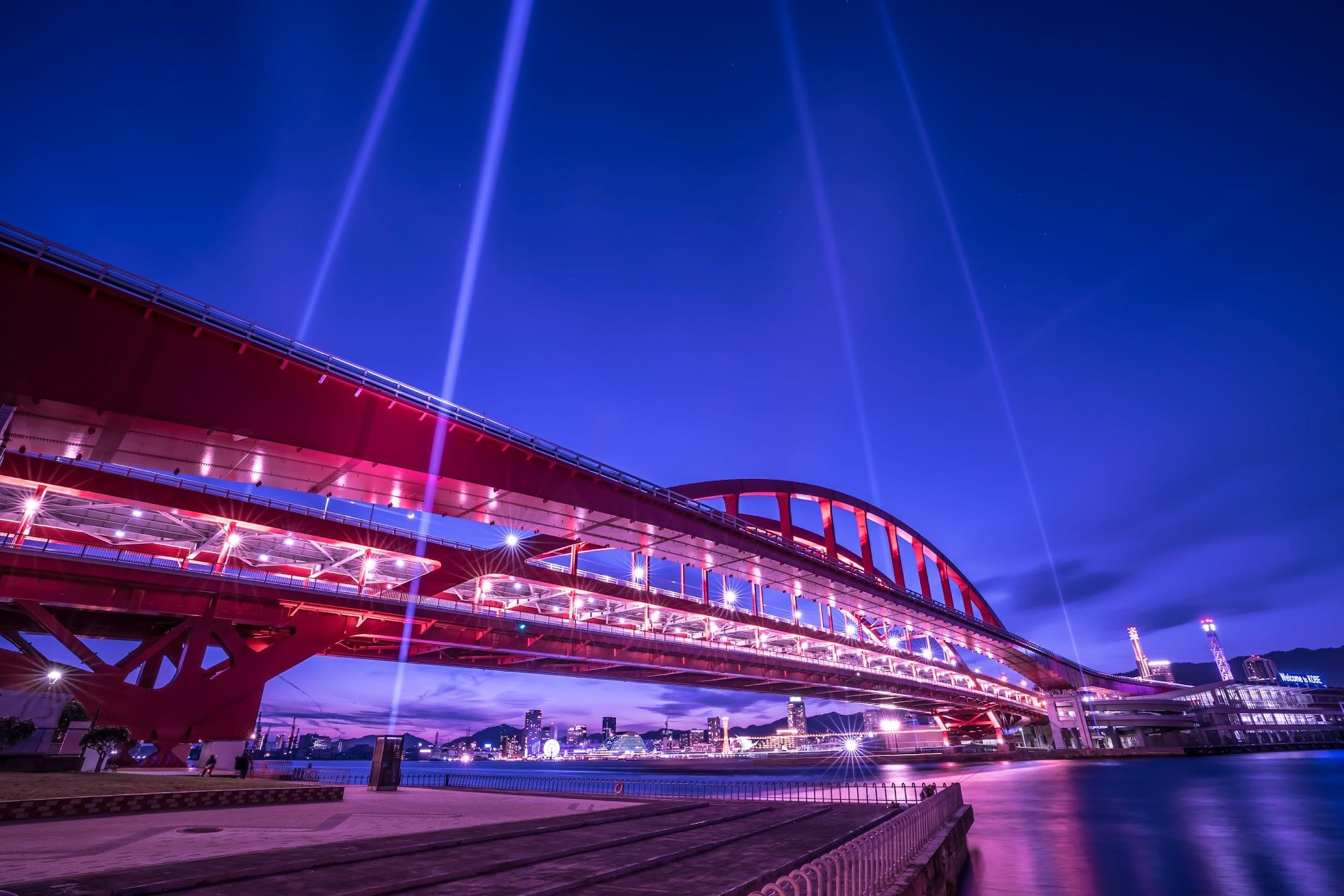 神戸大橋 上空照射 ライトアップ1
