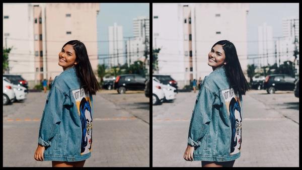antes e depois da foto de uma mulher branca sendo que em uma foto está com o filtro FD-3 e Muse do AirBrush