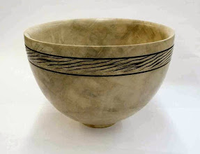 """Photo: Richard Webster - silver-maple bowl with decoration, 8""""x5"""", finished """"lighter"""" with Shellawax"""