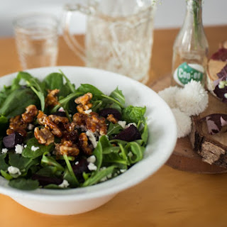 Broadsheet Winter Lunch – Pulled Pork Chipotle Pies & Roasted Beetroot, Goats Cheese and Candied Walnut Salad