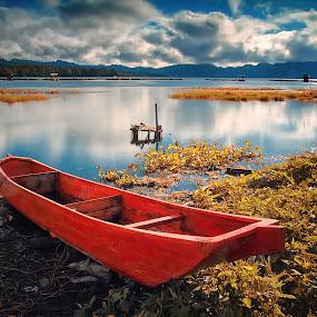 Batur Lake's Red Boat by Calvin Go - Transportation Boats ( bali, red, kintamani, batur, danau, lake, boat )
