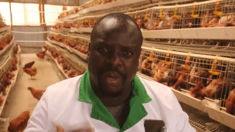 Berlin Ajeck talking about his poultry farm in Webuye.