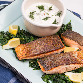 One Pan Seared Salmon and Spinach with Remoulade Recipe