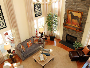 Photo: The two-story great room in our award winning PRESTON model at Winding Brook Estates.