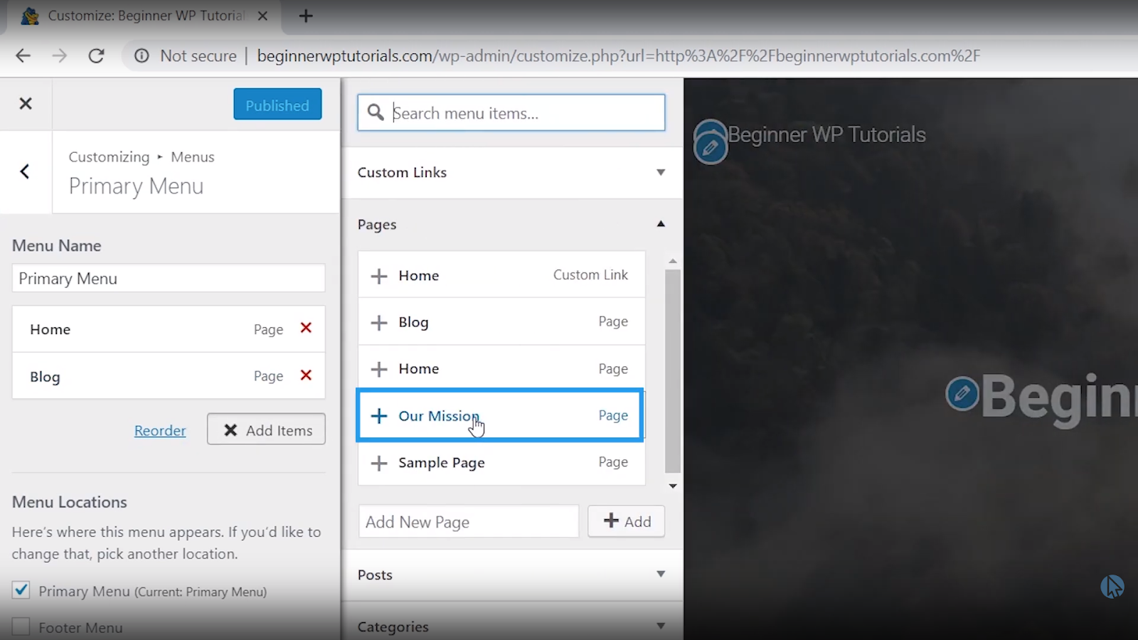 add mission page to menu wordpress tutorial for beginners