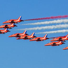 Red Arrows Airshow by Sarita Jithin - Transportation Airplanes