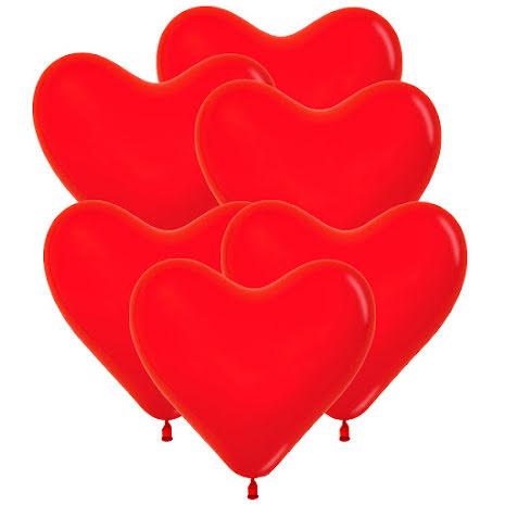 Ballonger, hjärta röd 6 st