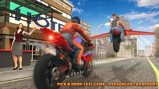Real Flying Bike Taxi Simulator: Bike Driving Game apkmr screenshots 3