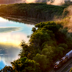 by Theresa Stevens - Transportation Trains ( reflections, river, clouds, water, train, fog )