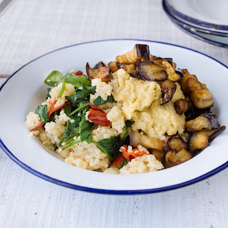 Maple Roasted Aubergine With Hummus & Red Pepper Millet
