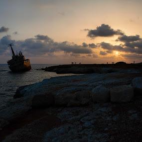Edro III by Anastasis Agathokleous - Landscapes Sunsets & Sunrises ( shipwreck, sunrise, seascape, edro, rocks, beach, cyprus, clouds, sun, pafos, sea,  )