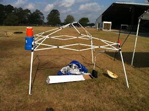 Photo: Mangled destroyed EZ up canopy frame at HFR