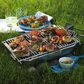 Barbecued Kabobs and Pork Steaks.