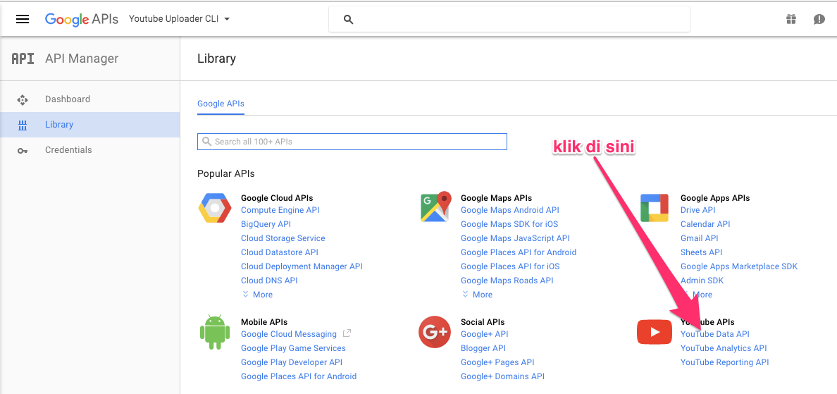 Klik Youtube Data API