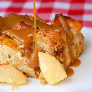 Spiced Pear Bread Pudding with Butterscotch Sauce.