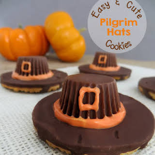 Easy Pilgrim Hat Cookies with Fudge Stripes and Reese's Peanut Butter Cups for Thanksgiving.