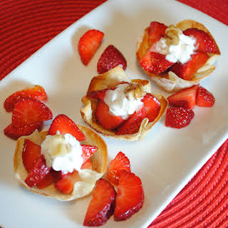 Wonton Cups Filled with Strawberries and Cream.