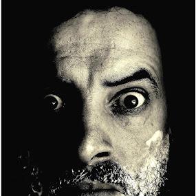 Face Off by Isaac De Jesus - Black & White Portraits & People ( selfie, shave, shadow, art, self portrait, light, man )