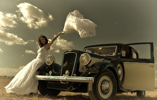 playing with clouds by Soran Sorin - Wedding Bride ( clouds, car, bride )