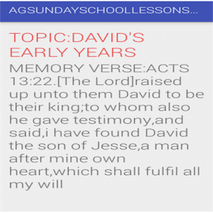 AG SUNDAY SCHOOL LESSON APP - náhled