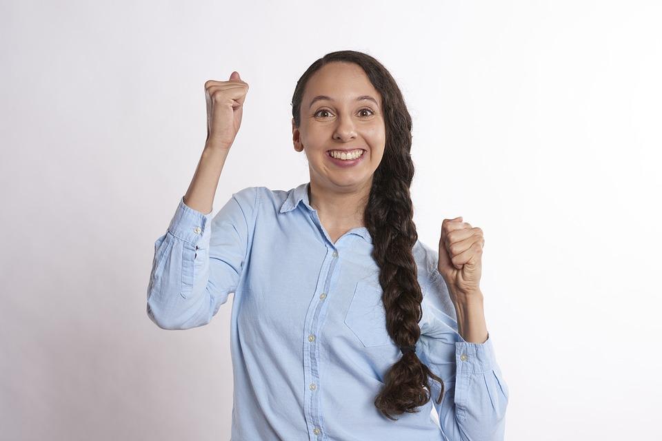 興奮, 人, 幸せ, 若いです, 女性, 喜び, 幸福, エキサイティングです, はい, デスクトップ, 大人