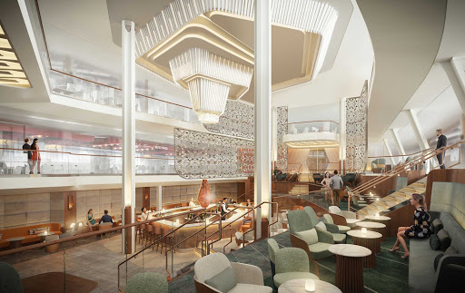 The Grand Plaza of Celebrity Beyond, which spans three decks at the heart of the ship, has a Martini Bar as its centerpiece.