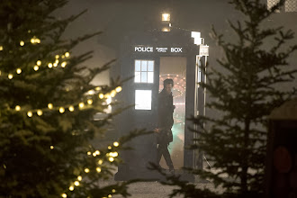 Photo: The Doctor and the TARDIS in the Doctor Who Christmas Special 2013, The Time of the Doctor.