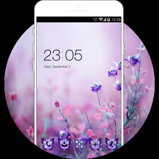 Beautiful Theme: Purple Flower Launcher nature