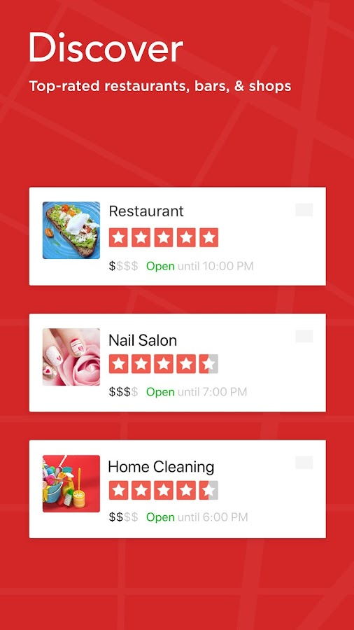 Screenshots of Yelp for iPhone