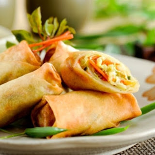 Spring Rolls with Cilantro-Chili Dipping Sauce