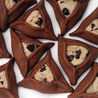 Chocolate Chip Cookie Stuffed Chocolate Hamantaschen