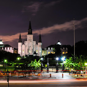 Jackson Square by Robb Harper - City,  Street & Park  Historic Districts ( new orleans, street, french quarter, jackson square, night time )