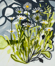 """Photo: Oxeye Daisy Drawing 2, pencil and acrylic on mylar, 36"""" x  30"""", 2012"""