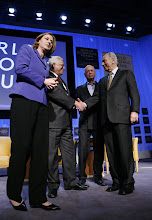 Photo: DAVOS/SWITZERLAND, 25JAN07 - Tzipi Livni, Vice-Prime Minister and Minister of Foreign Affairs of Israel, Mahmoud Abbas, President of the Palestinian Authority; Chairman of the Palestinian Liberation Organization Executive Committee, Klaus Schwab, Founder and Executive Chairman, World Economic Forum, Shimon Peres, Vice-Prime Minister of Israel, (fltr), captured during the session 'Enough Is Enough - Israel and the Palestinian Territories' at the Annual Meeting 2007 of the World Economic Forum in Davos, Switzerland, January 25, 2007.  Copyright by World Economic Forum    swiss-image.ch/Photo by Yoshiko Kusano  +++No resale, no archive+++