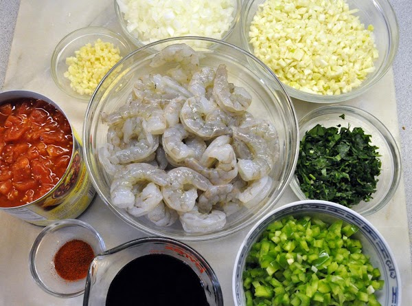Sauté celery, green onions, onions, bell pepper and garlic in butter or EVOO until...